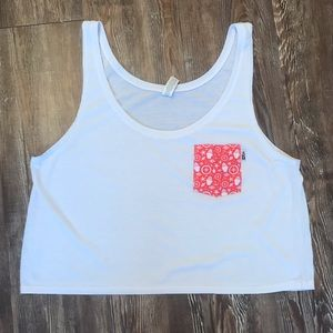 White Crop Tank with Red Nautical Pocket